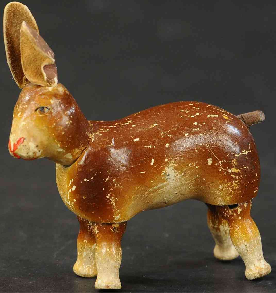 schoenhut wooden toy rabbit with leather ears painted eyes