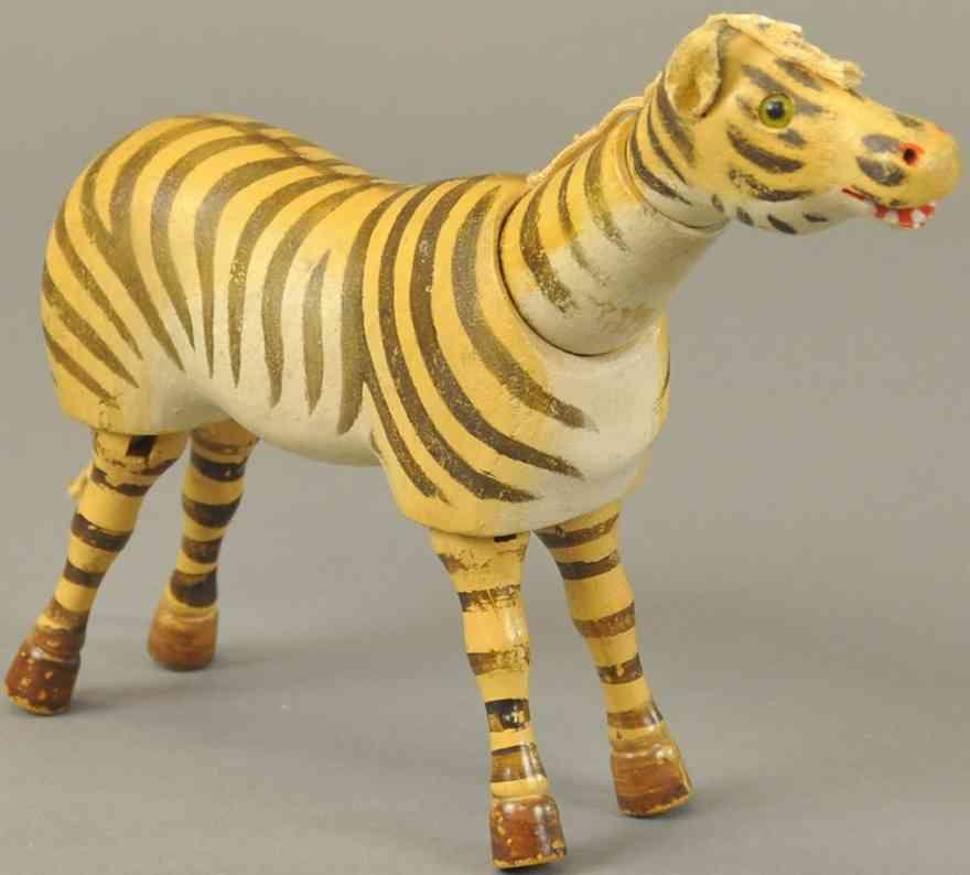 schoenhut holz zebra gelenke glasaugen