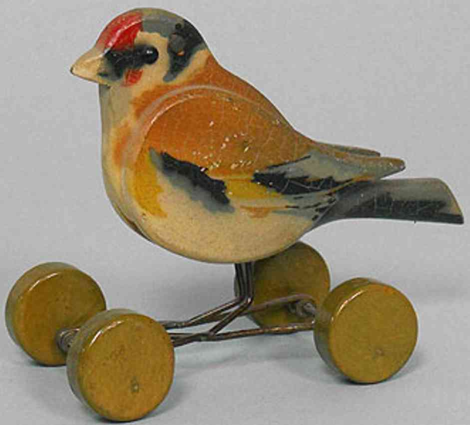 steiff wooden finch 1812ex on excentric wheels