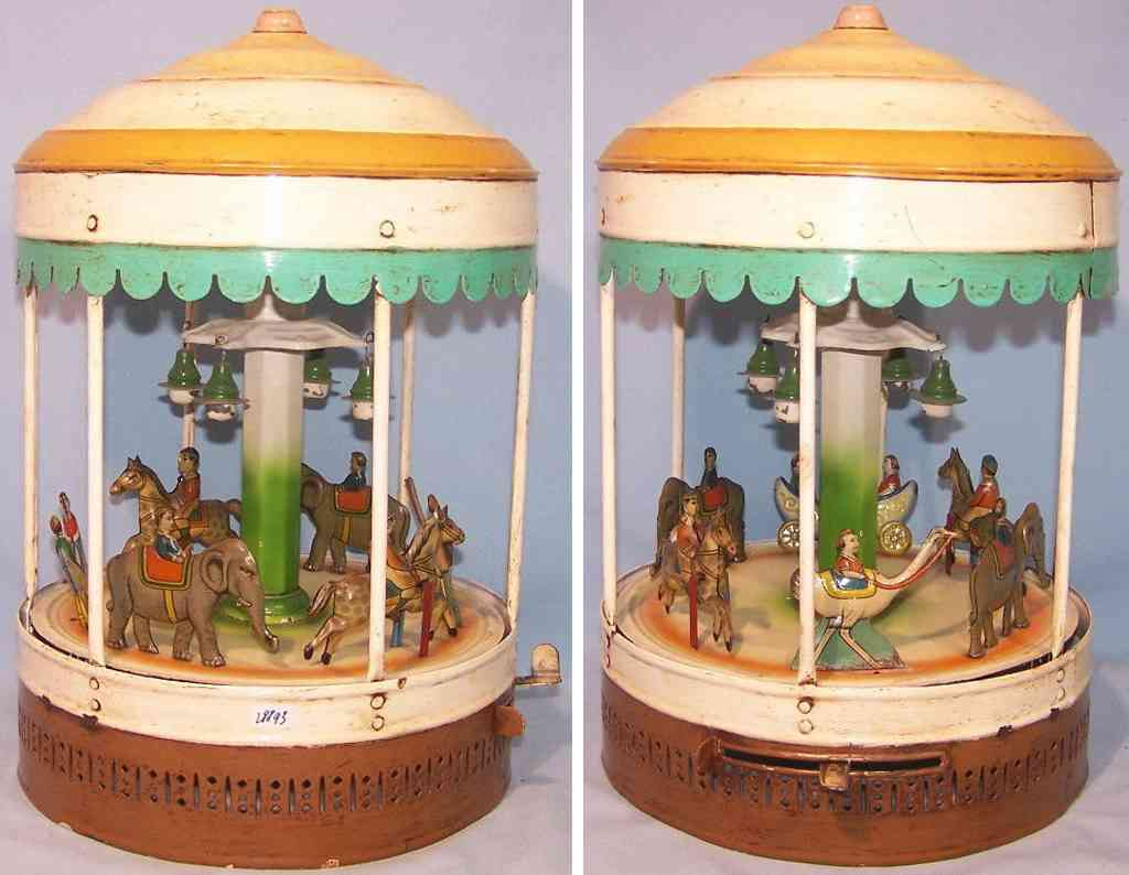 bing tin toy carousel tin carousel elephant horse swan