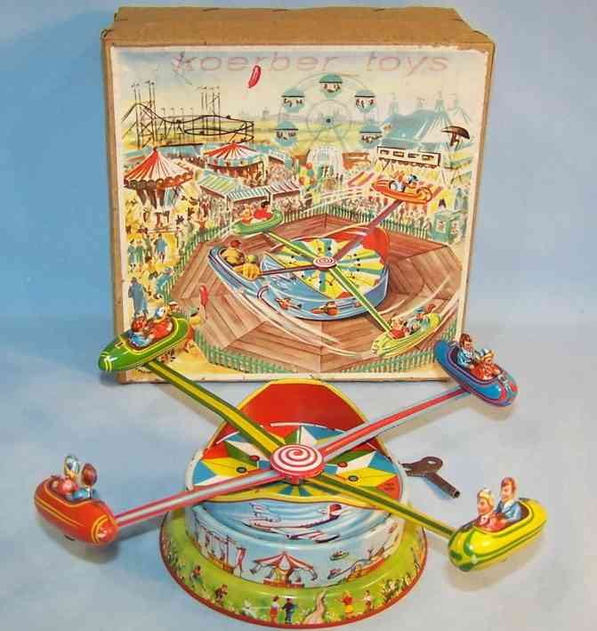 blomer & schuler 550 tin toy carnival rocket ride roundabout clockwork