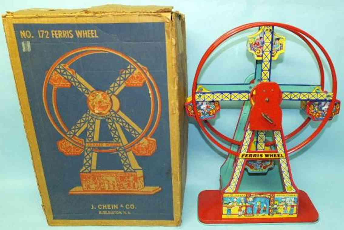 chein co. 172 blech spielzeug karussell riesenrad mit vier gondeln