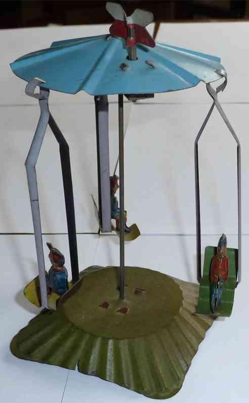 distler blech spielzeug karussell aufzug drei gondeln figuren