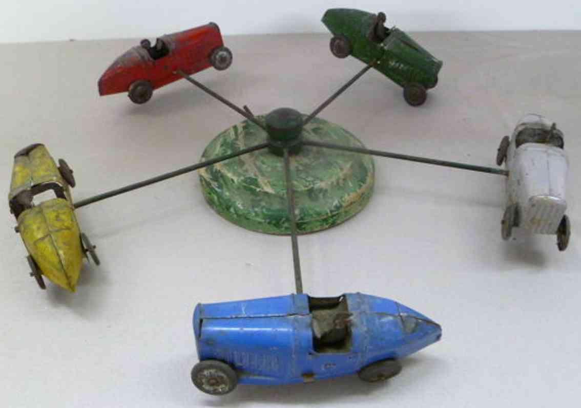 fischer georg blech spielzeug karussell fünf bugatti autos