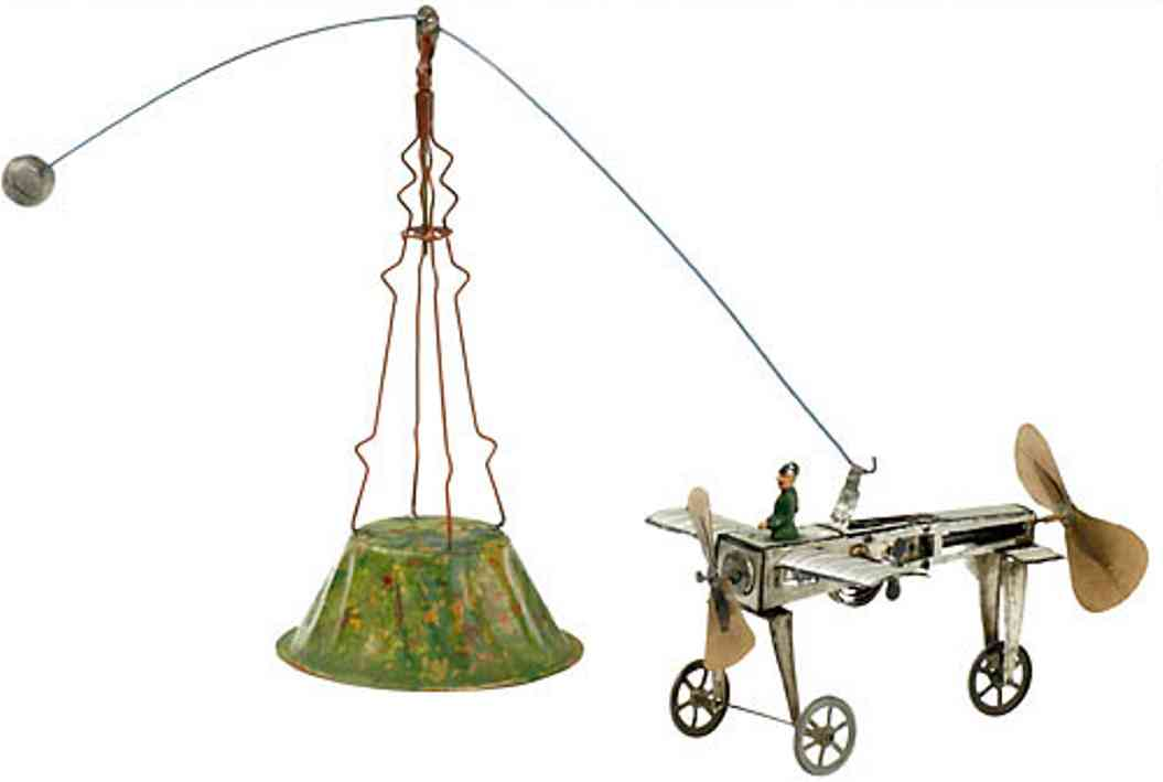 fischer heinrich tin toy carousel aeronautical with spring motor, leriot-type model monoplane,