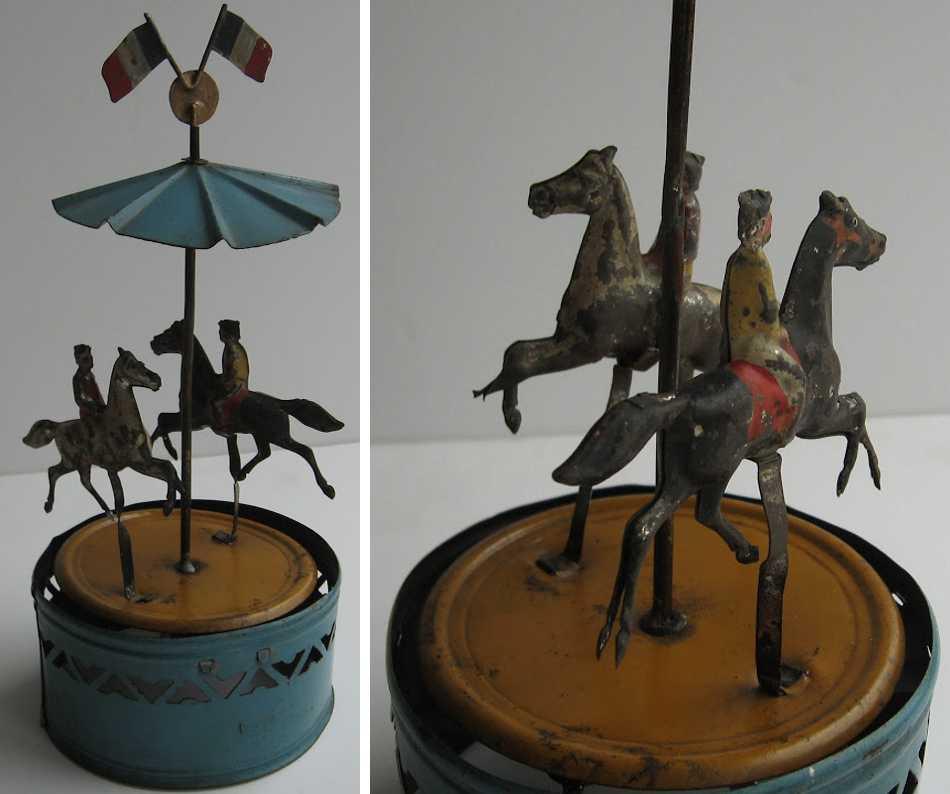 Günthermann Karussell mit zwei Pferden mit Reitern