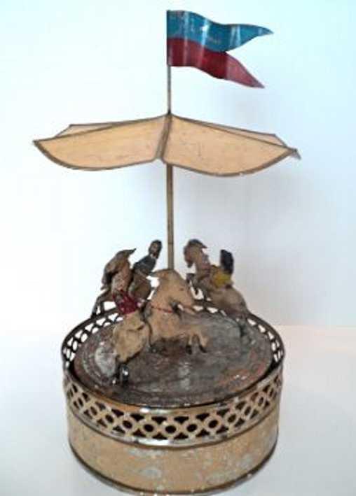 guenthermann blech spielzeug karussell uhrwerk drei ziegen figuren