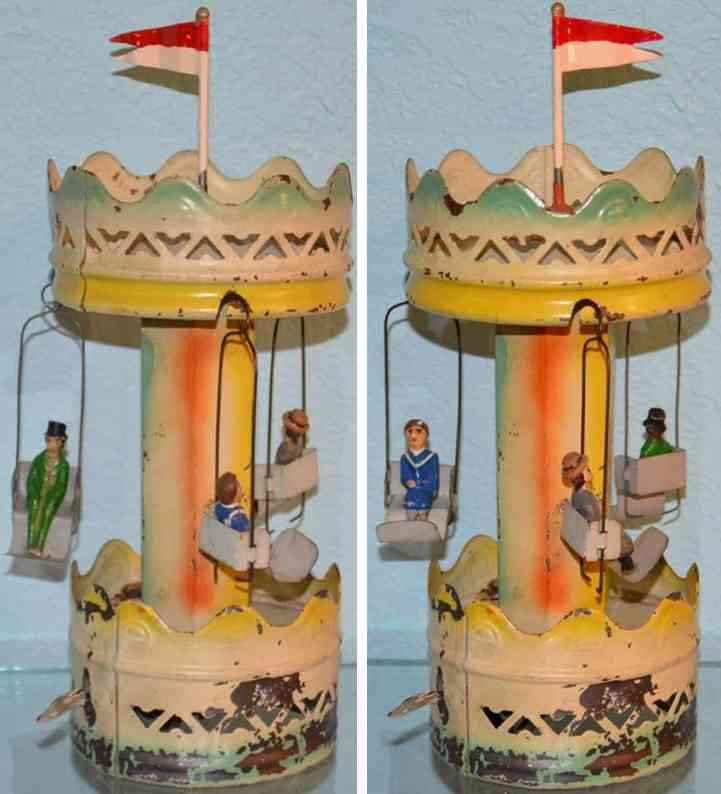 guenthermann  blech spielzeug karussell uhrwerk drein gondeln figuren