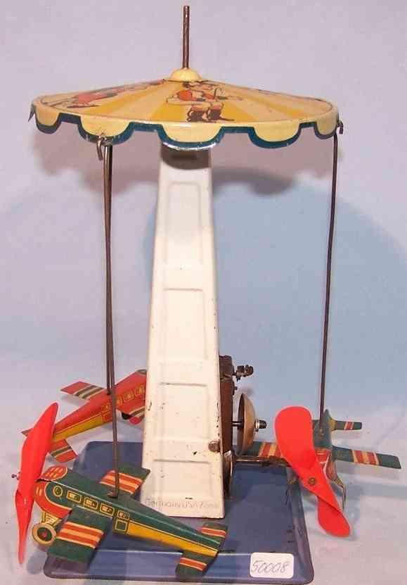 hoch & beckmann blech spielzeug kinderkarussell drei flugzeuge uhrwerk laeutewerk