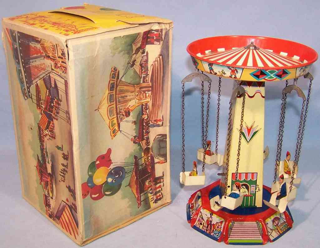 hoch & beckmann 716-4 tin toy swin carousel clockwork