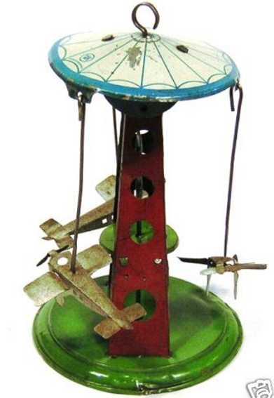 krauss wilhelm blech spielzeug karussell drei flugzeuge runde sockel