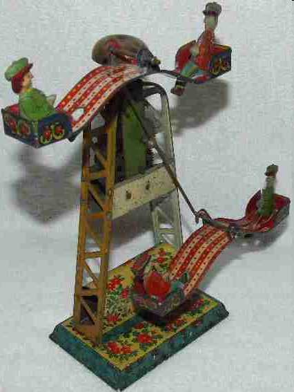 kuramochi tin toy carousel carousel with clockwork, wound up it moves in a link circle,