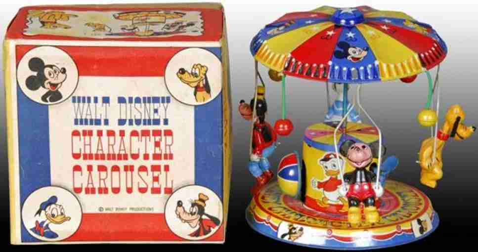 linemar tin toy wind-up walt disney character carousel