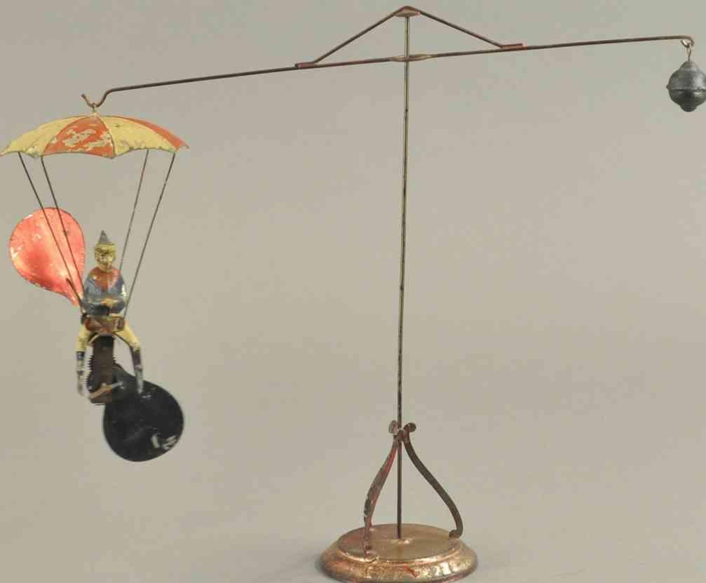 mueller & kadeder blech spielzeug karussell fallschirmspringer