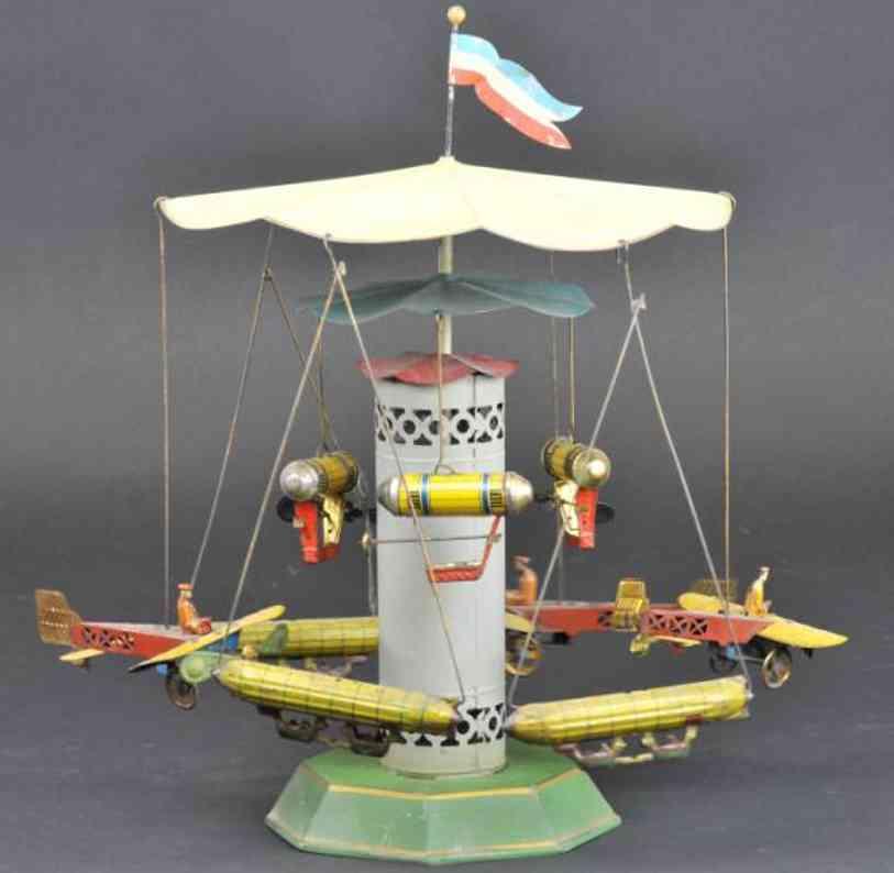 mueller & kadeder blech spielzeug karussell zeppeline flugzeuge uhrwerk