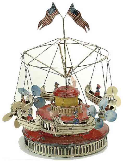 nbn nuernberger blechspielwaren 145 tin toy carousel flying six boats roundabout