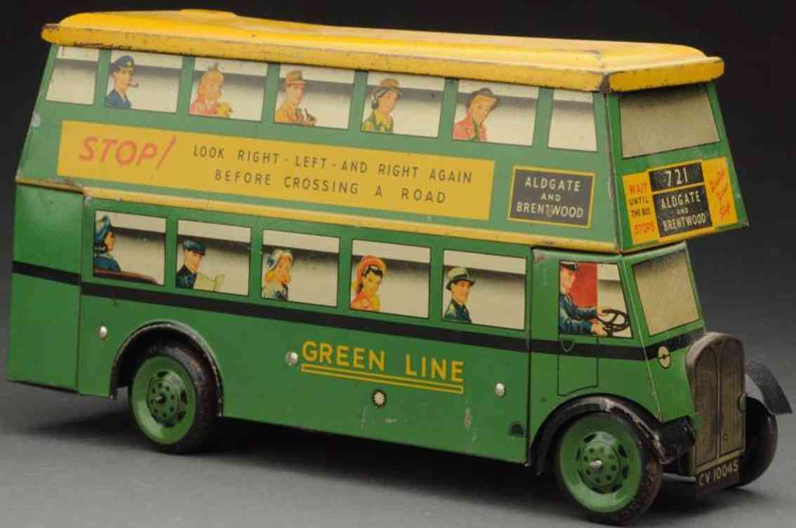 chad valley co ltd green line bus biscuit tin