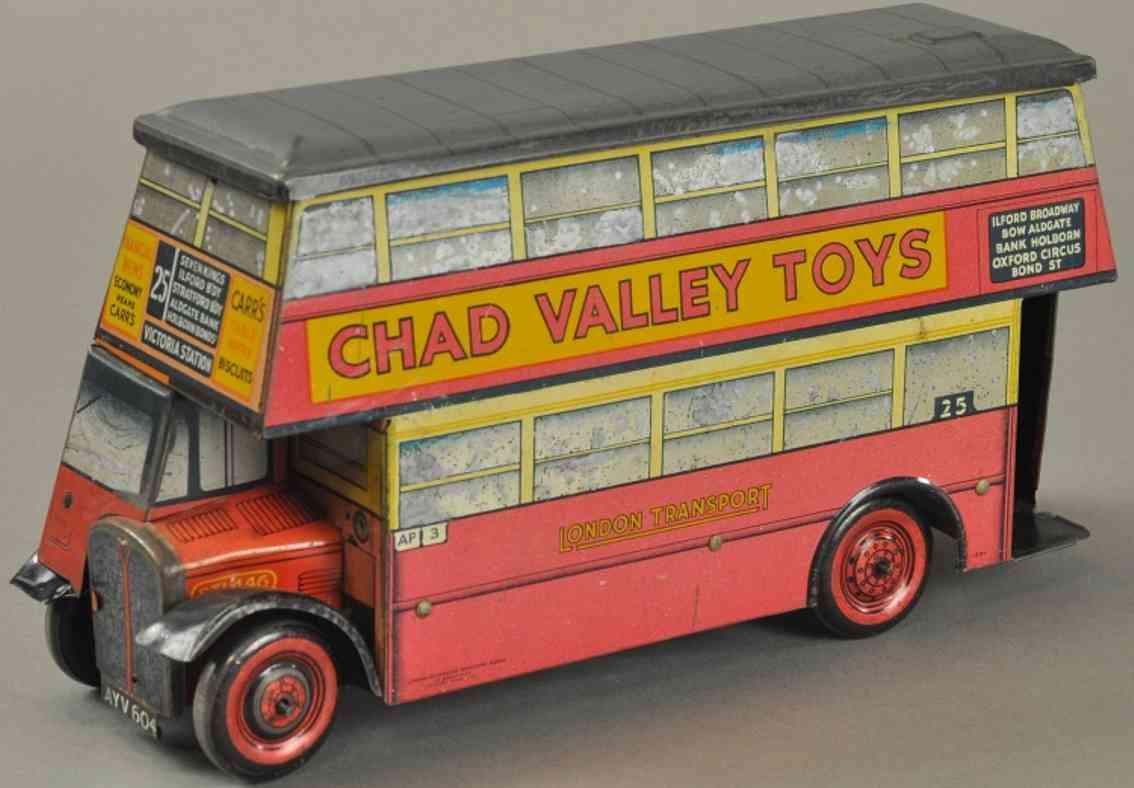chad valley co ltd blech spielzeug autobus carr's doppeldecker