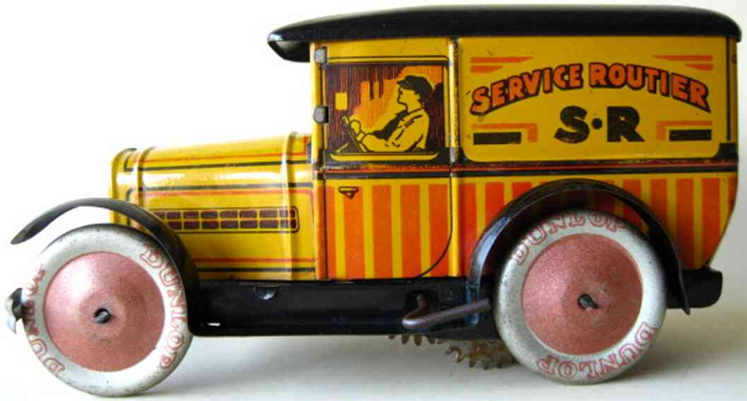 g. de andreis et cie biscuit tin peugeot 201 advertisement car with clockwork