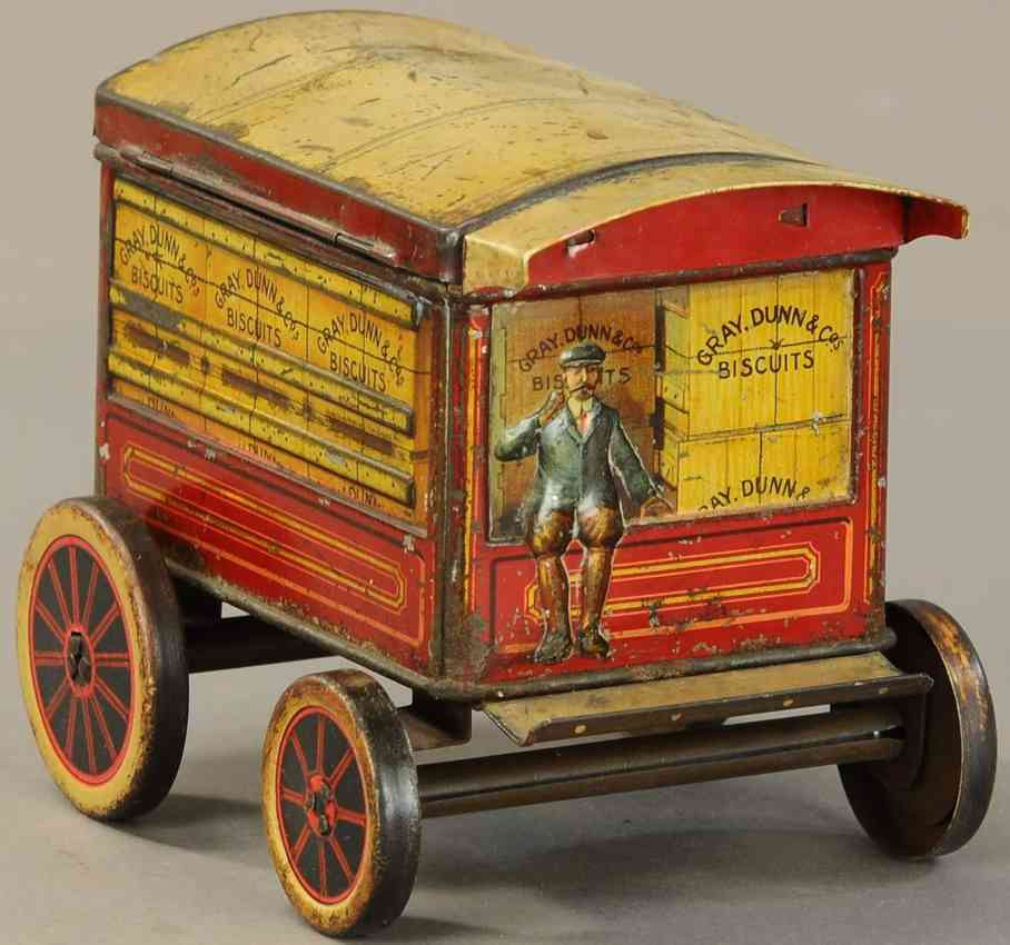gray,dunn, &,co figural biscuit tin delivery truck