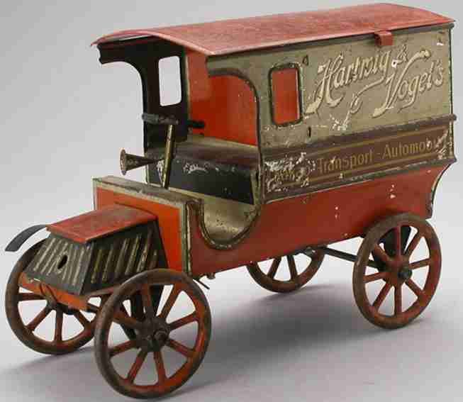 hartwig & vogel biscuit tin van of tin with cans as packaging for cocoa