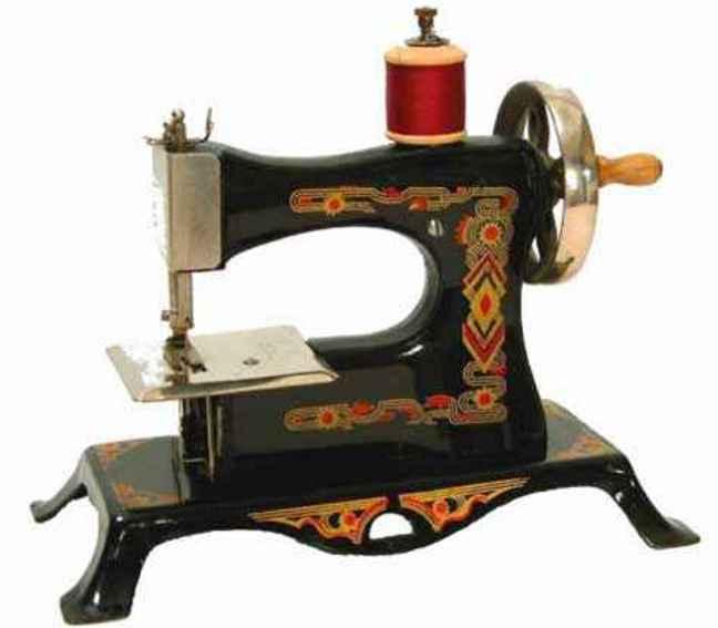 casige 2/neu kindernaehmaschine nähmaschine mit art-deco dekor, mit handrad rechts wie eine
