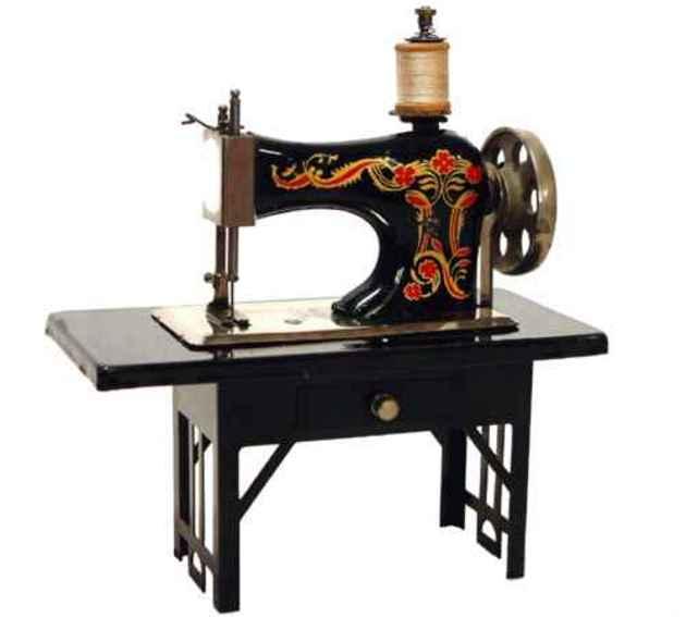 casige 204/2 kindernaehmaschine nähmaschine, schwarzer blechtisch