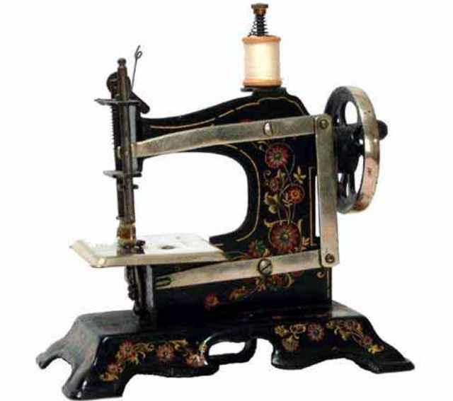 mueller fw 2 kindernaehmaschine nähmaschine aus eisen schwarz lackiert mit goldenen ranken u