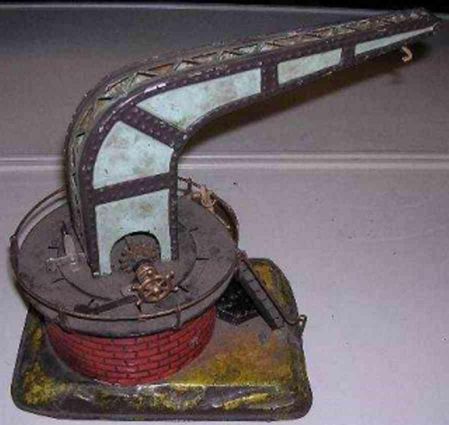 bing railway toy swivelling yard crane mounted on circular brick base