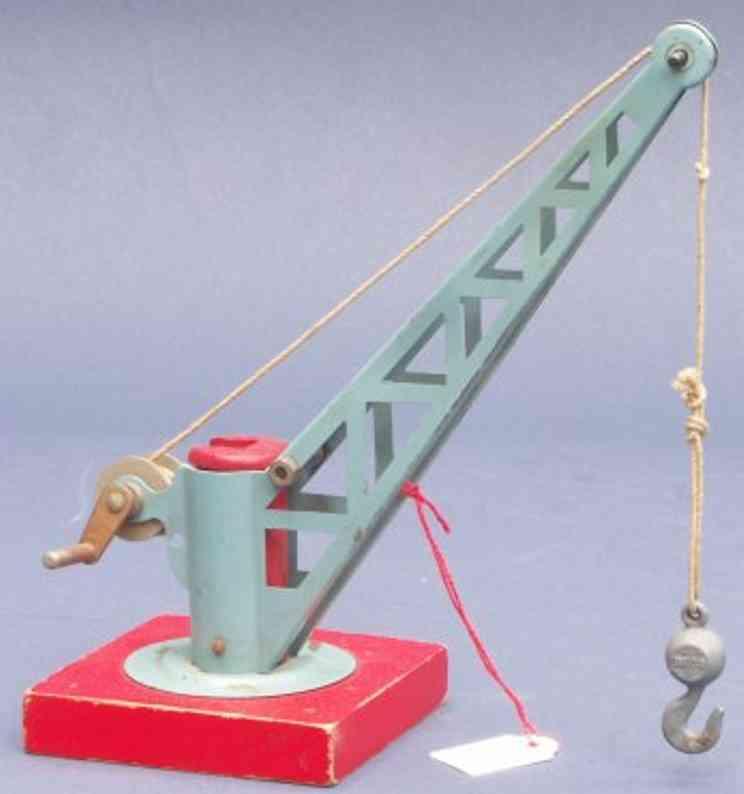 buco bucherer 671 railway toy crane railway station revolving crane in blue with red wood base,