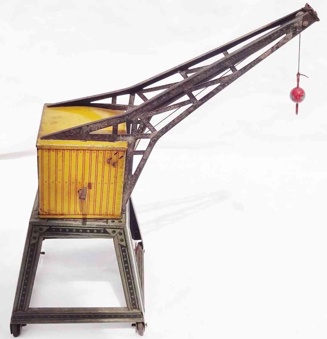 fischer heinrich railway toy mobile crane with house and ball hook