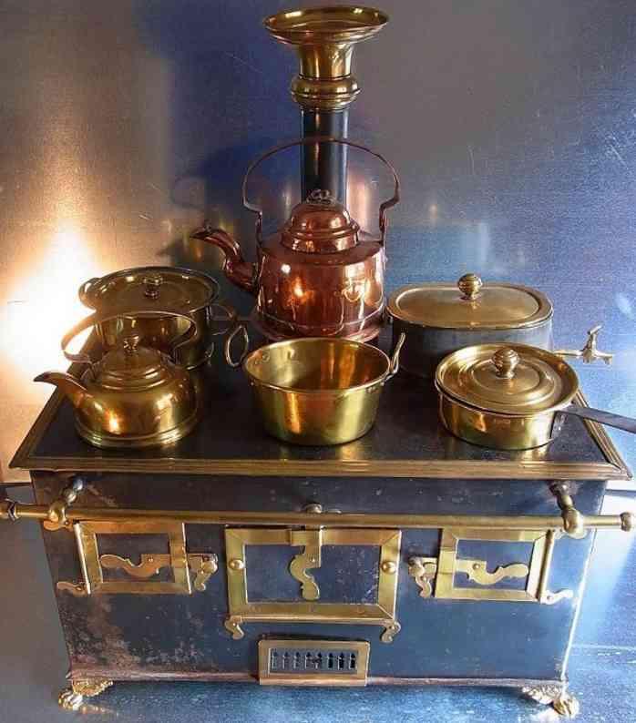 marklin toy children dolls stove with original brass copper pots