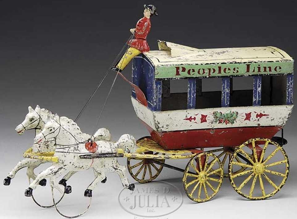 Althof Bergmann & C0 PEOPLES LINE Omnibus als Kutsche mit zwei Schimmeln