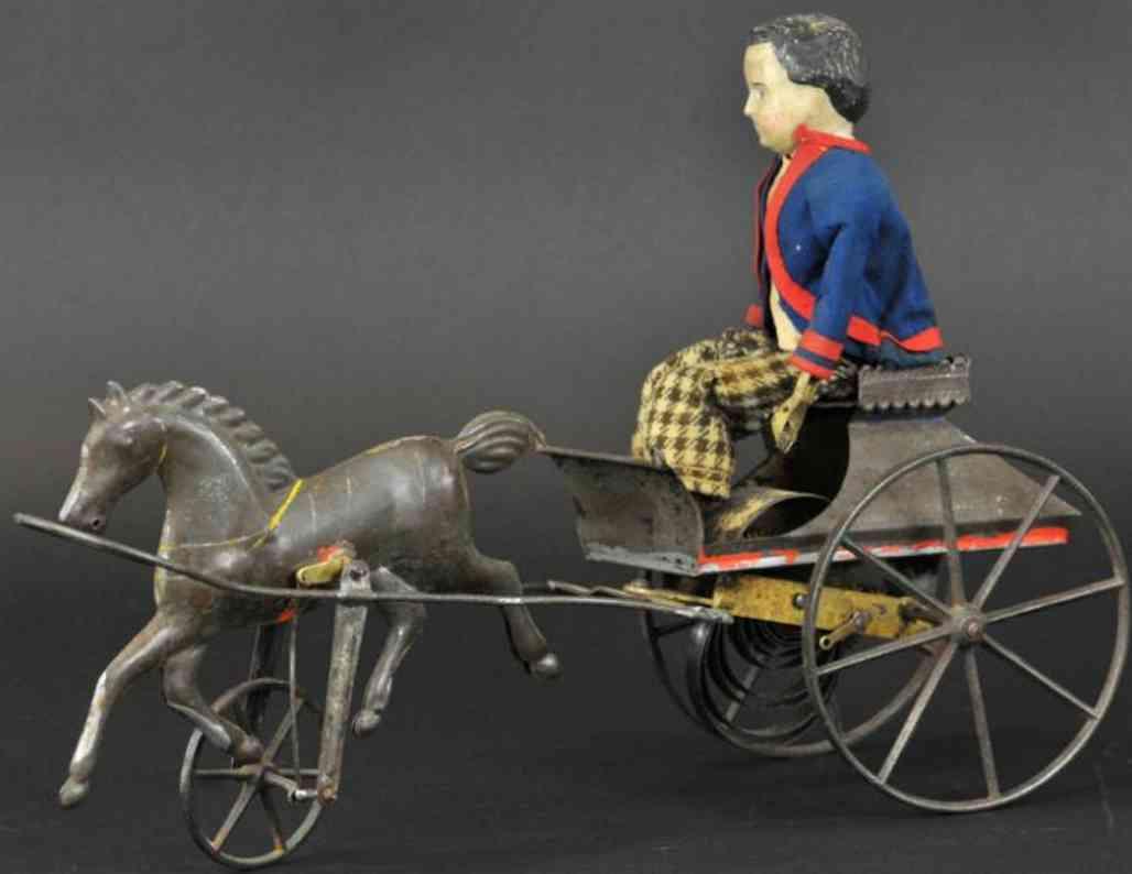 bergmann althof tin toy boy in cart single galloping horse clockwork