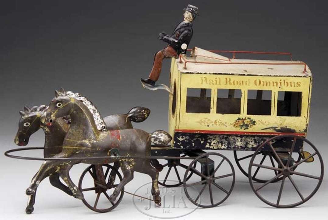 althof bergmann & co blech spielzeug rail road omnibus zwei pferde