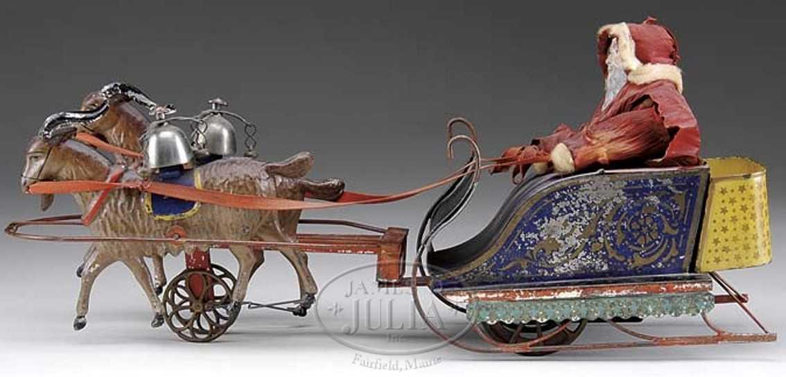 Althof Bergmann & C0 Weihnachtsmannschlitten mit Ziegen und Uhrwerk