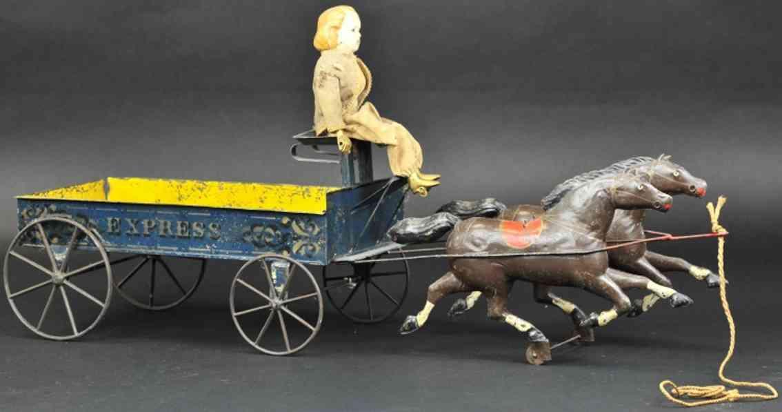 bergmann althof blech spielzeug karre gezogen von zwei pferde