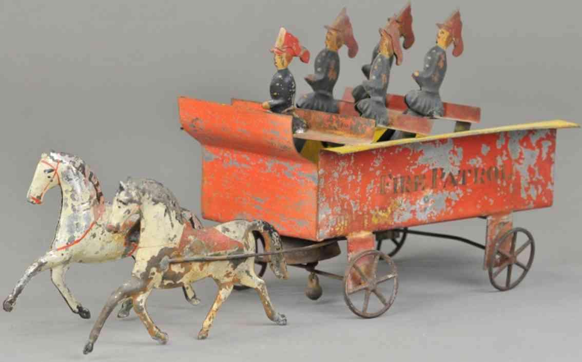 bergmann althof tin toy coach fire patrol wagon two horses