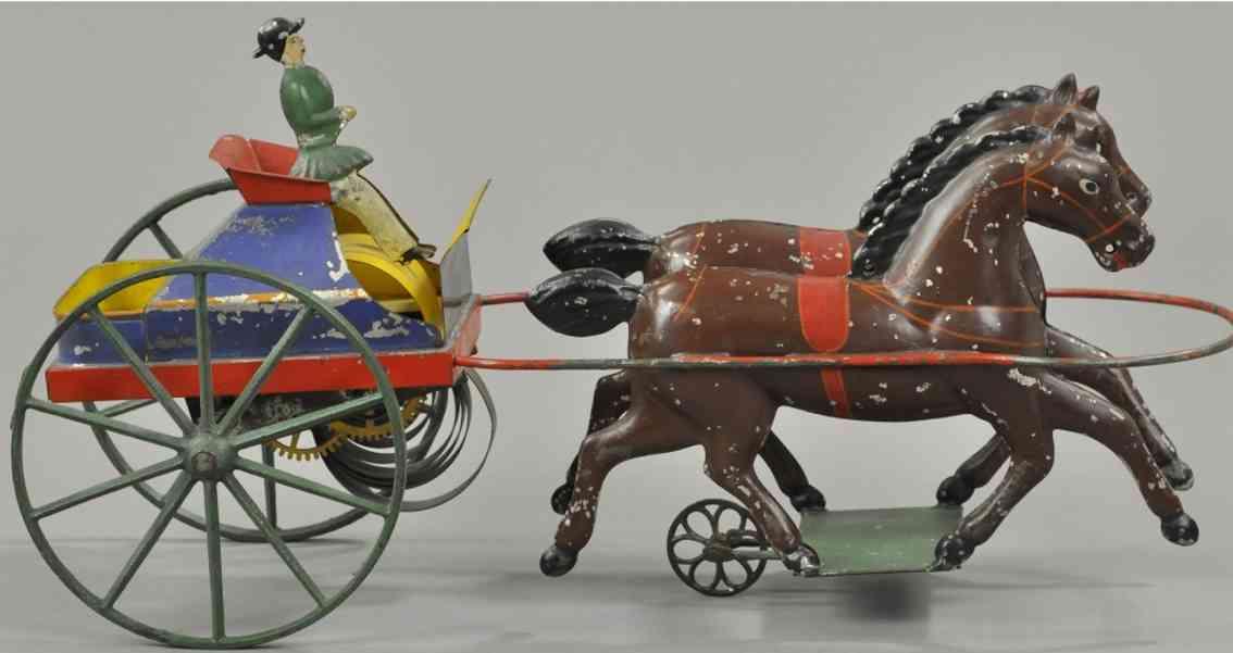 althof bergmann & co blech spielzeug kutsche einspaenner mit fahrer zwei braune pferde