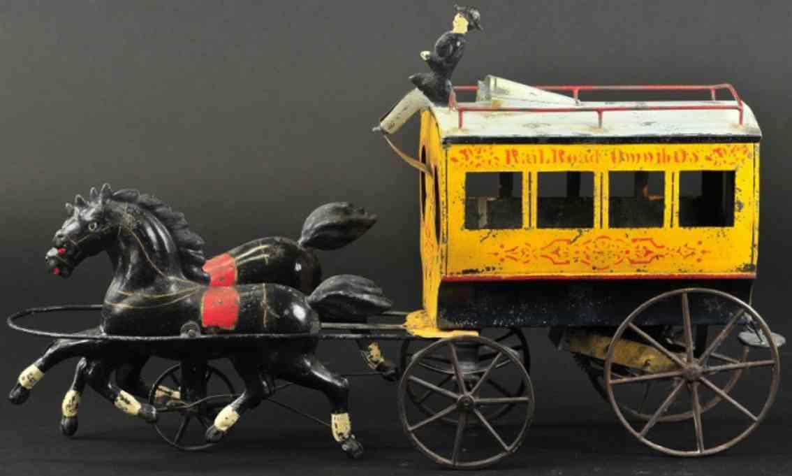 althof bergmann & co blech spielzeug  bus zwei pferde uhrwerk