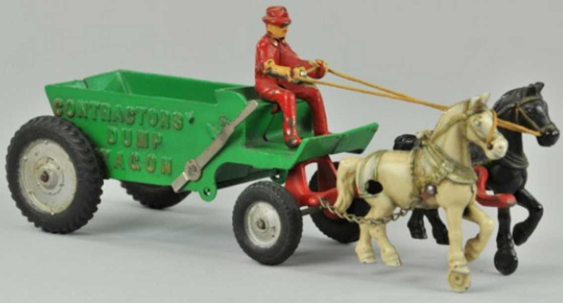 arcade 4121 gusseisen muellkutsche gruen zwei pferde