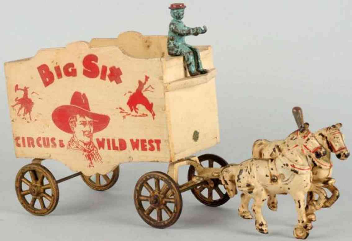 arcade cast iron toy carriage two white horse driver big six circus wild west