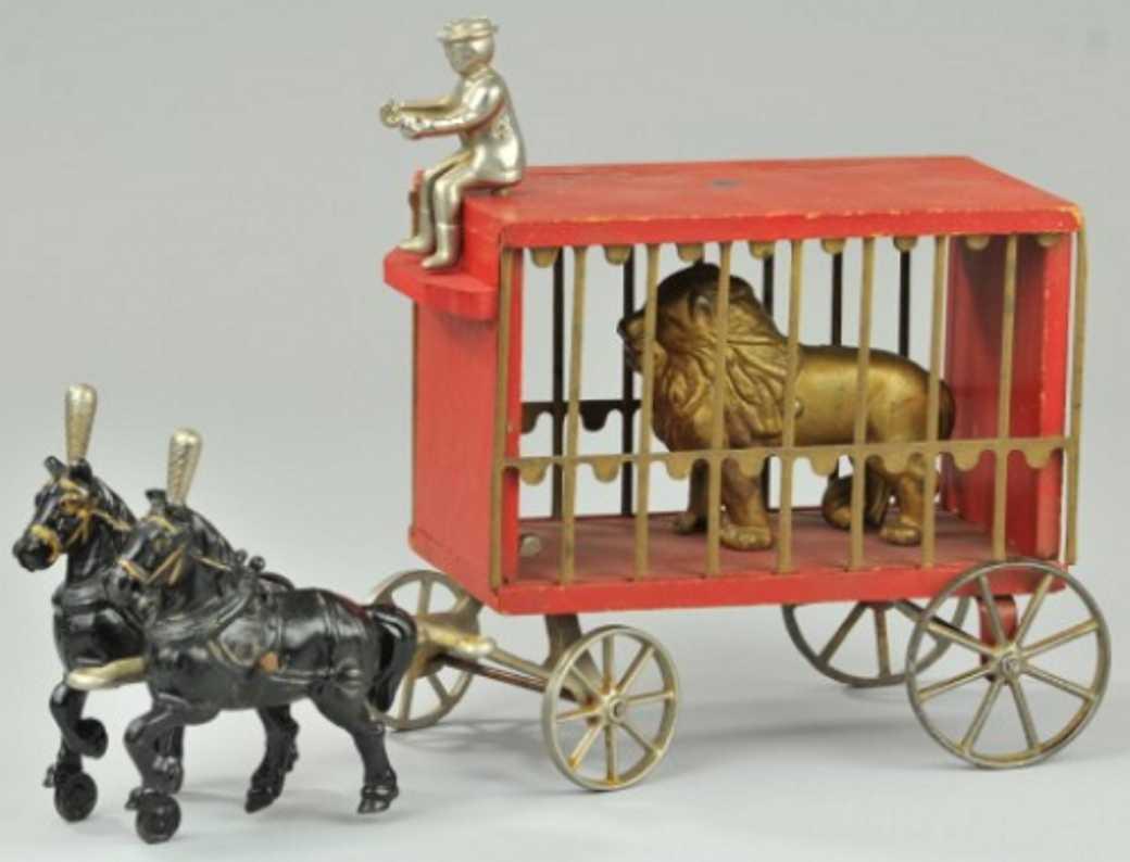 arcade spielzeug gusseisen zirkusholzwagen zwei pferde loewe