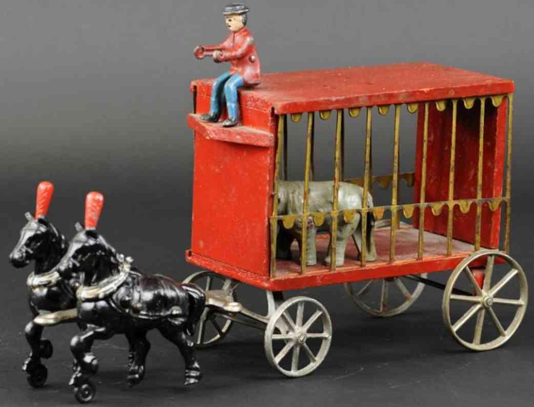 arcade zirkuskaefigwagen gusseisen blech holz elefant vier pferde