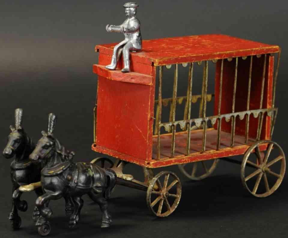 arcade gusseisen zirkuskaefig paradewagen zwei pferde