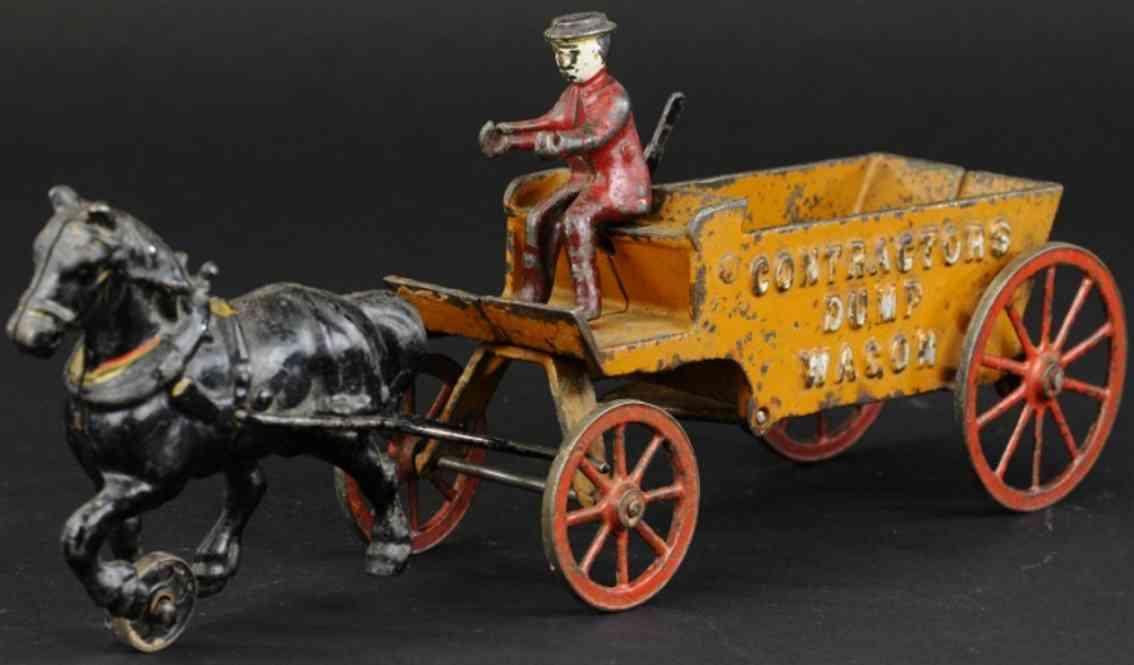 arcade cast iron toy contractors wagon orange one horse