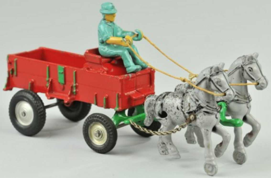 arcade cast iron toy horse drawn farm red wagon green driver