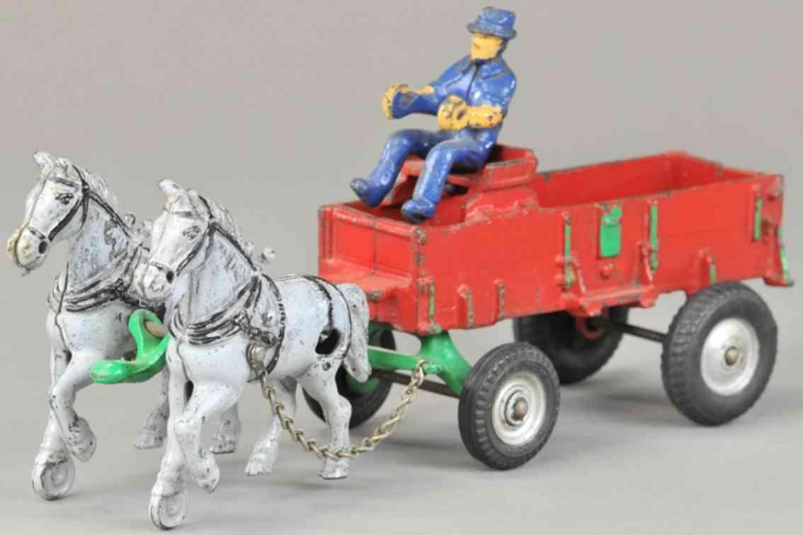 arcade cast iron toy farm wagon two horses blue driver