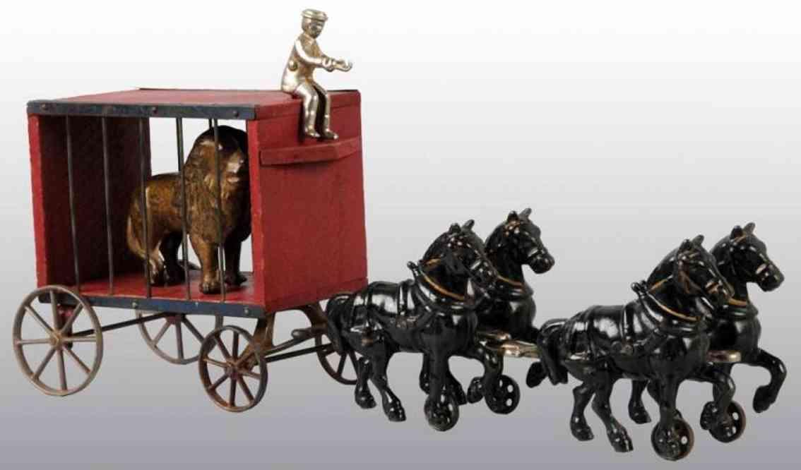 arcade spielzeug gusseisen zirkuswagen rot mit loew vier pferde