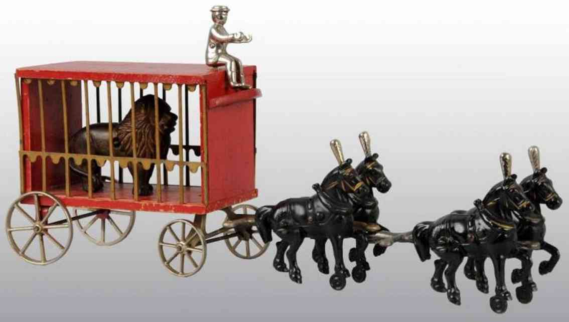 arcade cast iron toy circus cage wagon red lion four horses